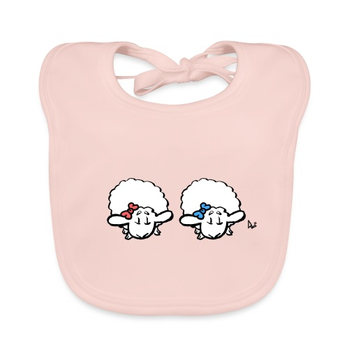 Baby Lamb Twins (pink & blau) - Baby Bio-Lätzchen