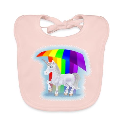 Cartoon Unicorn Under a Rainbow - Baby Organic Bib