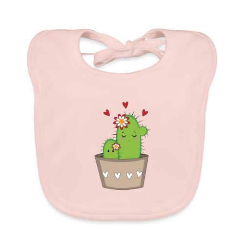 Kaktus Mama mit Kaktus Baby - Baby Bio-Lätzchen