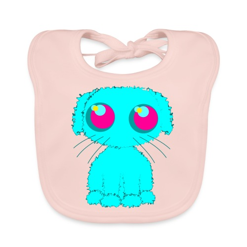 Dog, turquoise puppy with big pink eyes - Baby Organic Bib
