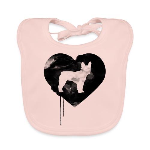 Französische Bulldogge Herz mit Silhouette - Baby Bio-Lätzchen