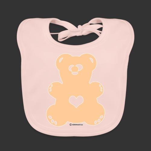 Bärenlust - schielender Bär in beige (Farbe 2) - Baby Bio-Lätzchen