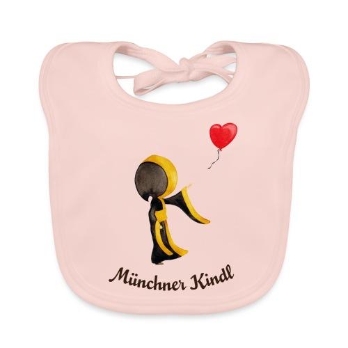 Münchner Kindl mit Herz-Luftballon und Text dunkel - Baby Bio-Lätzchen