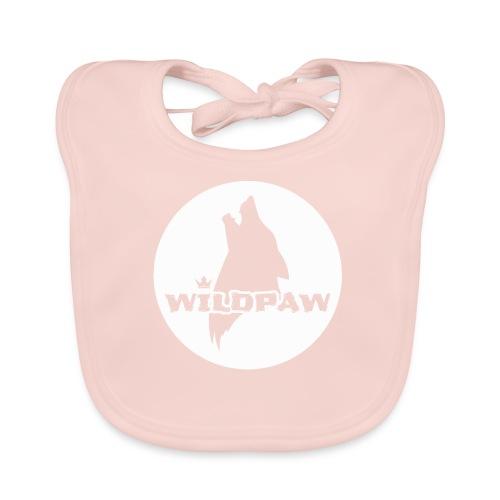 Wildpaw logo circular transparent mono WHITE - Baby Organic Bib