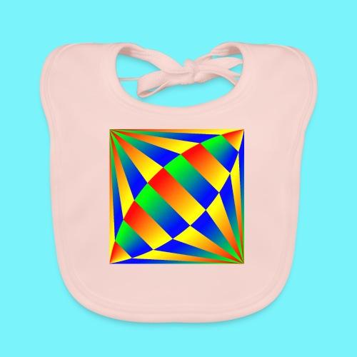 Giant cufflink design in blue, green, red, yellow. - Organic Baby Bibs