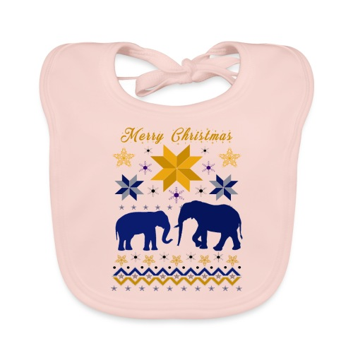 Merry Christmas I Elefanten - Baby Bio-Lätzchen