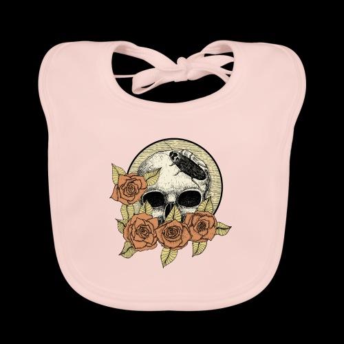 Rose et tête de mort - Bavoir bio Bébé