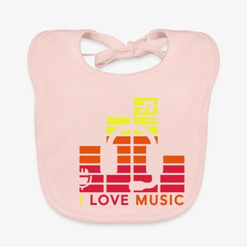 I love music Illustration Musik Drummershirts.de - Baby Bio-Lätzchen