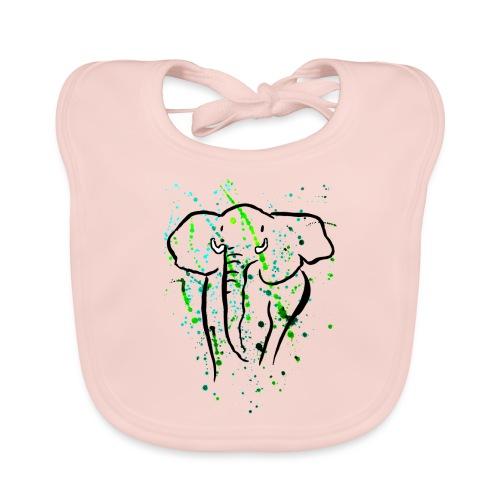 Afrikanischer Elefant I Kleckse - Baby Bio-Lätzchen