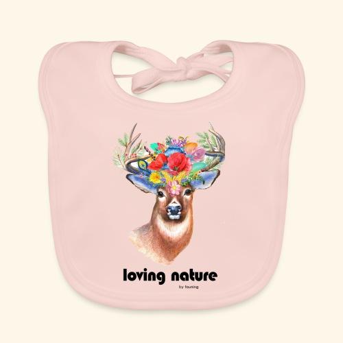 Ciervo con flores - Babero ecológico bebé