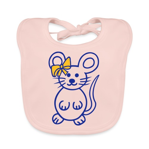 Maus mit Schleife - Baby Bio-Lätzchen
