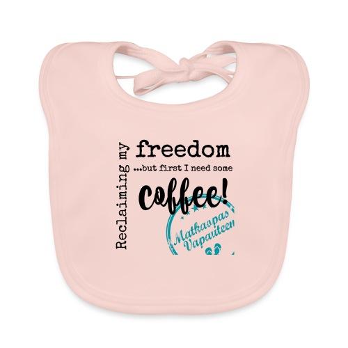Kahvimuki Matkaopas Vapauteen, turkoosi - Vauvan luomuruokalappu