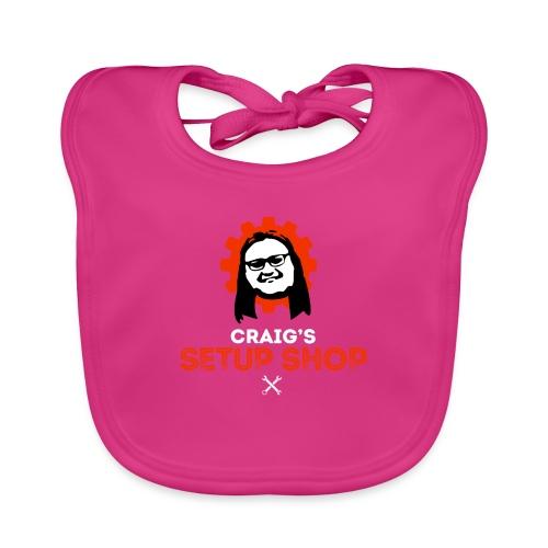 Craigs Setup Shop on black - Baby Organic Bib