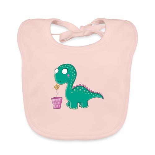 Kleiner Dinosaurier mit Blumentopf - Baby Bio-Lätzchen