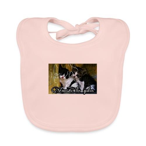Amor por los gatos - Babero de algodón orgánico para bebés