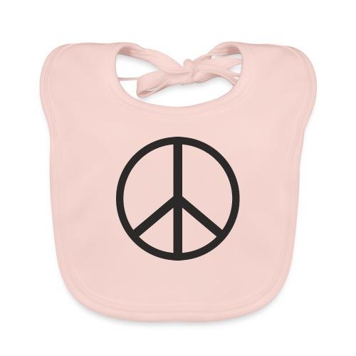 Símbolo de la paz negro - Babero de algodón orgánico para bebés