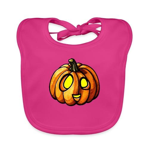 Pumpkin Halloween watercolor scribblesirii - Vauvan luomuruokalappu