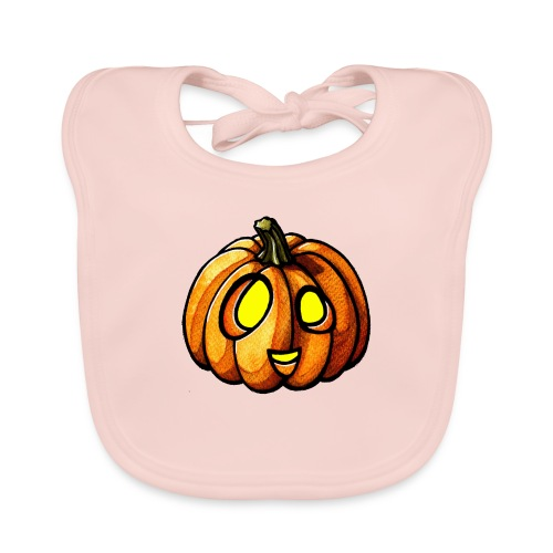 Pumpkin Halloween watercolor scribblesirii - Organic Baby Bibs