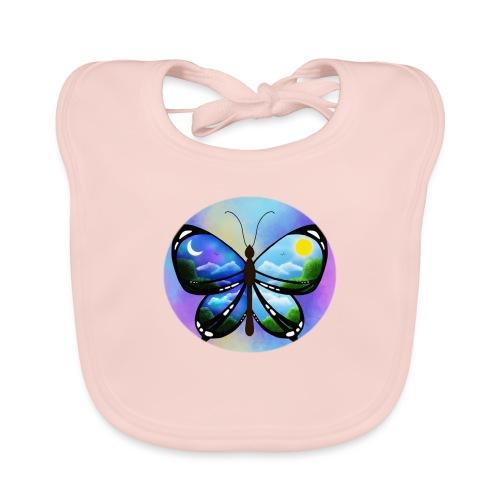 Blue Butterfly nature amazon - Babero de algodón orgánico para bebés