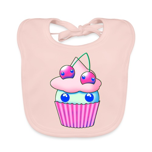 Sweet muffins with pink cherry and eyes - Baby Organic Bib