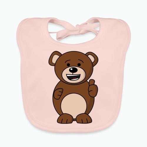 Bruno Bear Happy - Appelsin - Ekologisk babyhaklapp