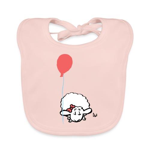 Babylam med ballon (lyserød) - Hagesmække af økologisk bomuld