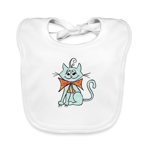 NIedliche blaue Katze - Baby Bio-Lätzchen