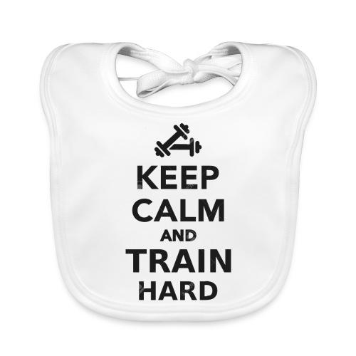 keep calm and train hard - Ekologisk babyhaklapp