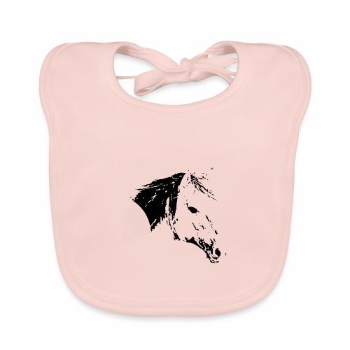 Pferd als schwarze Silhuette - Baby Bio-Lätzchen
