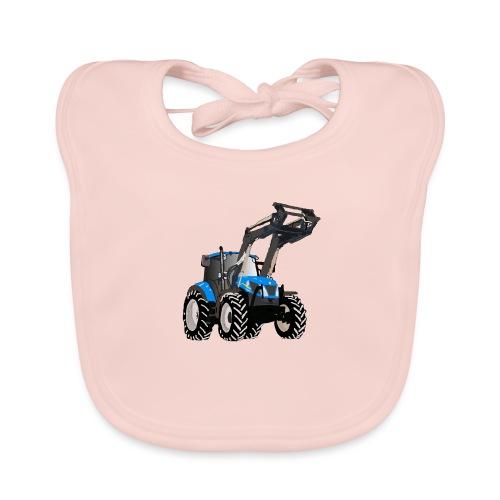 Blauer Traktor mit Frontlader - Baby Bio-Lätzchen