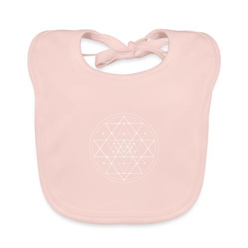 Valkoinen geometrinen Shri Yantra -kuvio - Vauvan luomuruokalappu