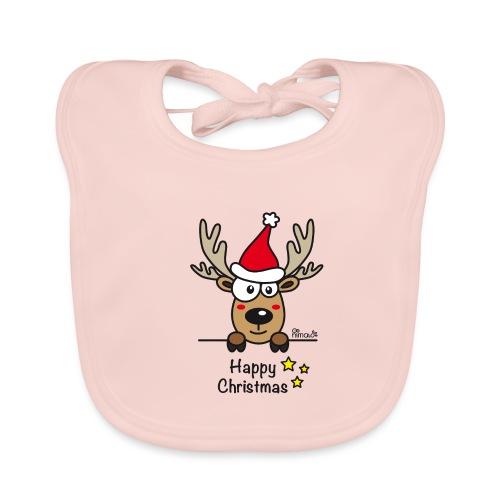 Renne Joyeux Noël - Happy Christmas, Humour, Drôle - Bavoir bio Bébé