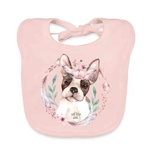 French Bully Flowers - Französische Bulldogge - Baby Bio-Lätzchen