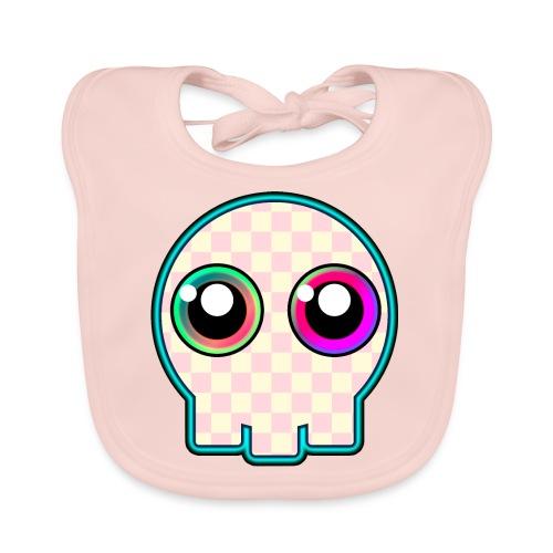 dödskalle rosa mycket söt tecknad stil - Baby Organic Bib