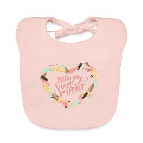 Sweetheart - Godis hjärta - Ekologisk babyhaklapp