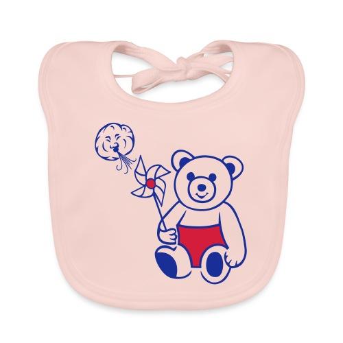 Teddybär mit Windmühle - Baby Bio-Lätzchen