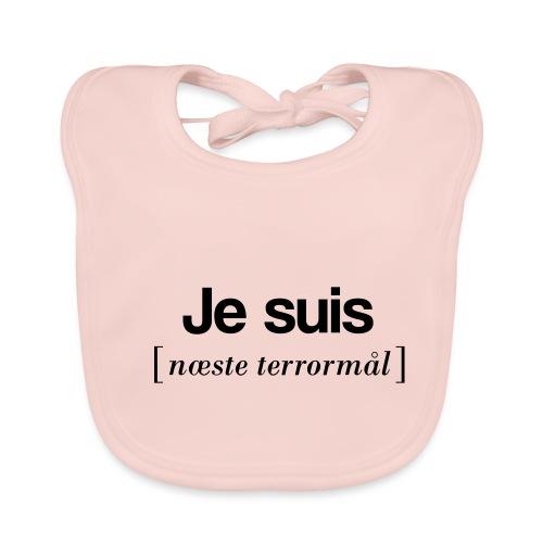 Je suis (sort skrift) - Hagesmække af økologisk bomuld