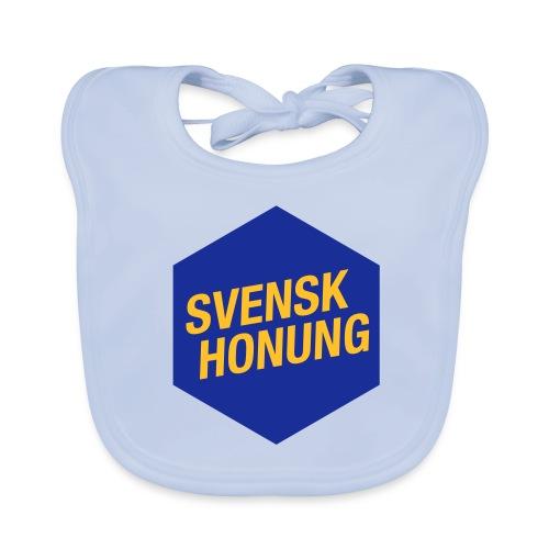 Svensk honung Hexagon Blå/Gul - Ekologisk babyhaklapp
