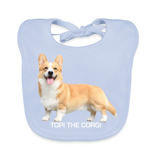 Topi the Corgi - White text - Baby Organic Bib