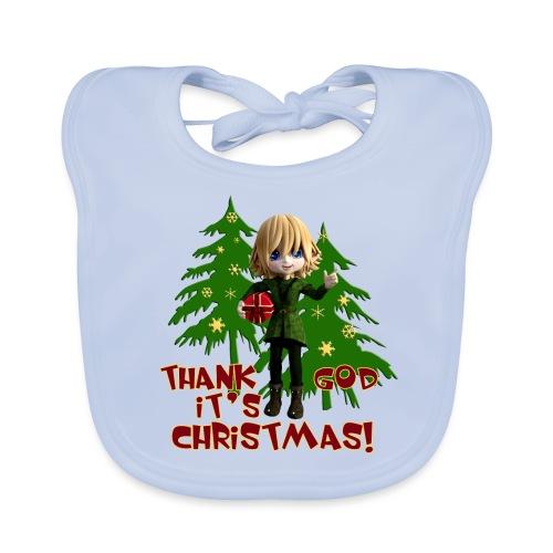 Weihnachtself Thank God it´s Christmas! - Baby Bio-Lätzchen