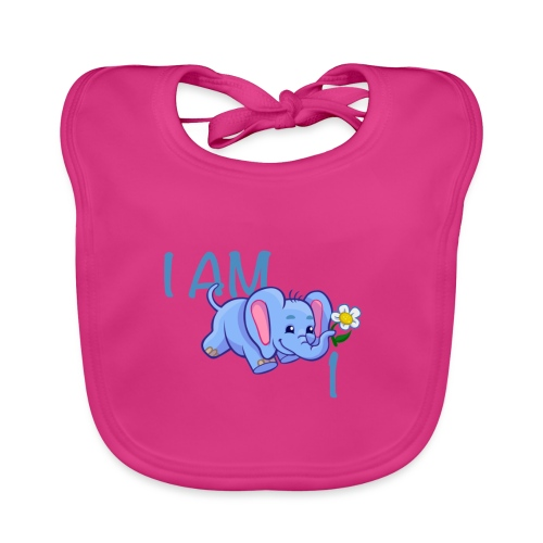 I am 1 - elephant blue - Organic Baby Bibs