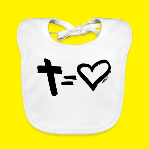 Cross = Heart BLACK - Organic Baby Bibs