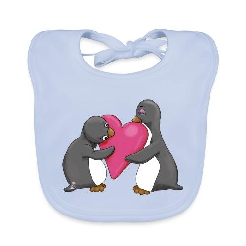 Pinguins geef me je hart - Bio-slabbetje voor baby's