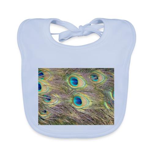 Peacock feathers - Vauvan luomuruokalappu