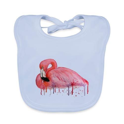 Pink Flamingo Watercolors Nadia Luongo - Bavaglino ecologico per neonato