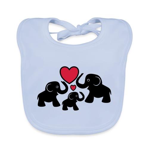 Zu dritt Elefanten Familie Mama Papa Baby Herz - Baby Bio-Lätzchen