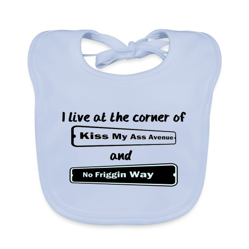 I_LIVE_AT_THE_CORNER_CUT_-2- - Baby Organic Bib