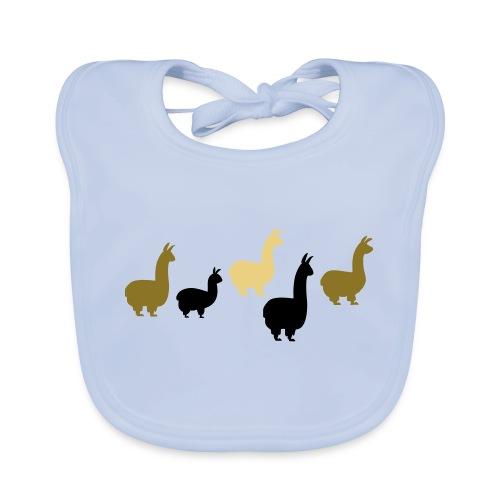 5 Llamas 3farbig - Baby Bio-Lätzchen