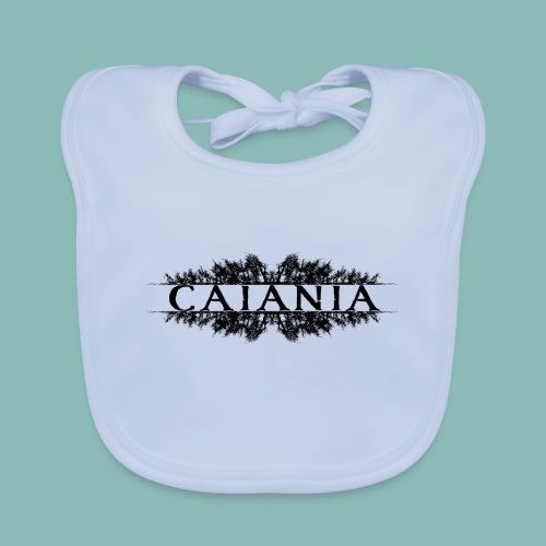 Caiania-logo musta - Vauvan luomuruokalappu