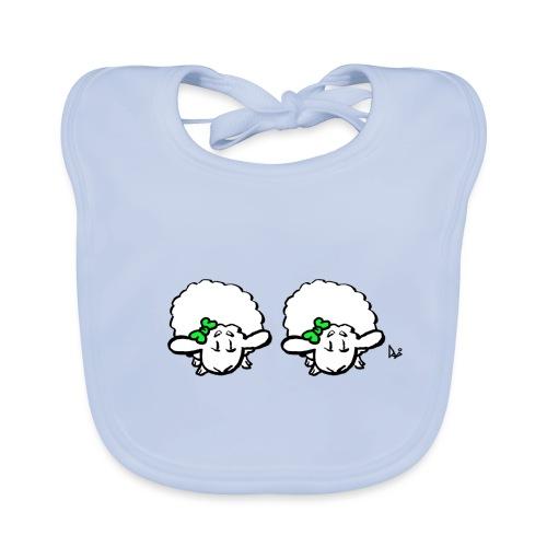 Baby lam tvillinger (grøn & grøn) - Hagesmække af økologisk bomuld